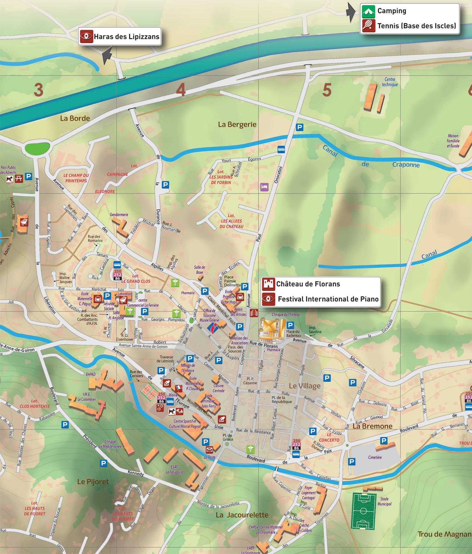la roque d anthéron carte Plans du village